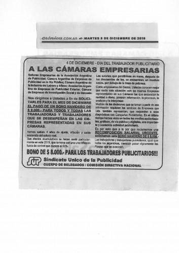 Solicitada diario Clarin Lun 3/dic/2018 pag.43