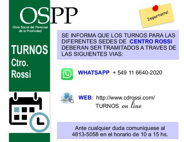 Turnos para Centro ROSSI por WhatsApp +549 11 6640 2020 o por web http:/www.cdrossi.com/turnosonline