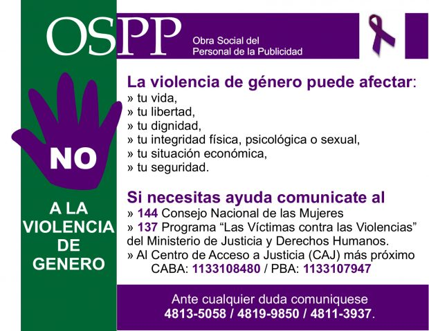 OSPP NO a la violencia de género